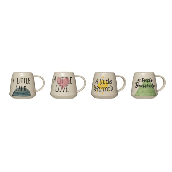 12 oz. Hand-Painted Stoneware Mug with Saying Thumbnail