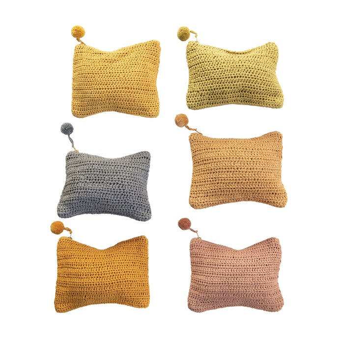 Handmade Cotton Crocheted Zip Pouch w/ Pom Pom, 6 Colors Thumbnail