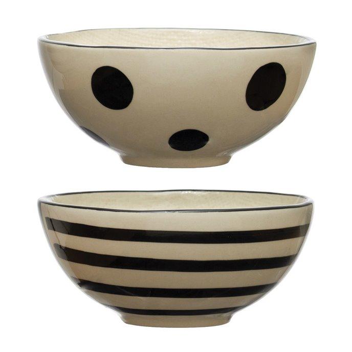 Hand-Painted Stoneware Bowl, Black & White, 2 Styles Thumbnail
