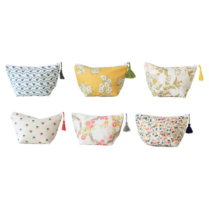 Cotton Printed Una Pouch w/ Tassel & Interior Coating, 6 Styles © Thumbnail