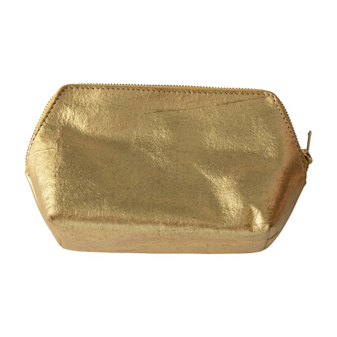 Recycled Leather Zip Pouch, Gold Color Thumbnail