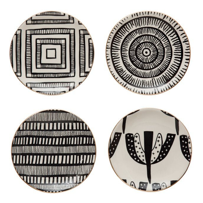 "5-1/2"" Round Stoneware Plate w/ Pattern & Gold Electroplating, Black & White, 4 Styles Thumbnail"