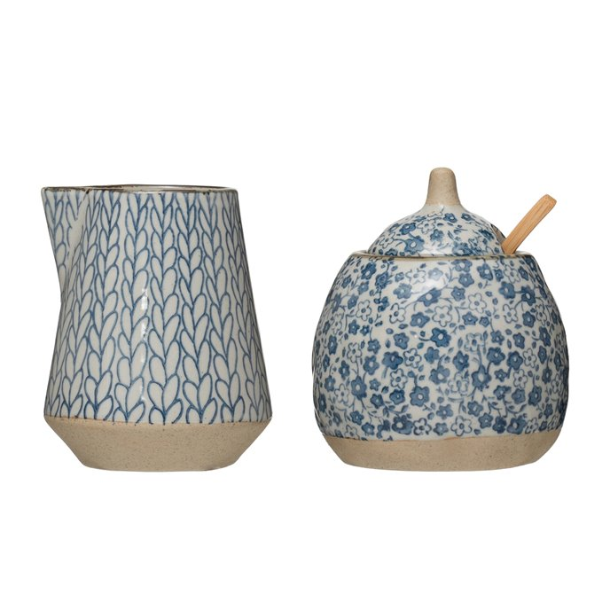 Hand-Painted Stoneware Sugar & Creamer (Set of 2 Pieces) Thumbnail