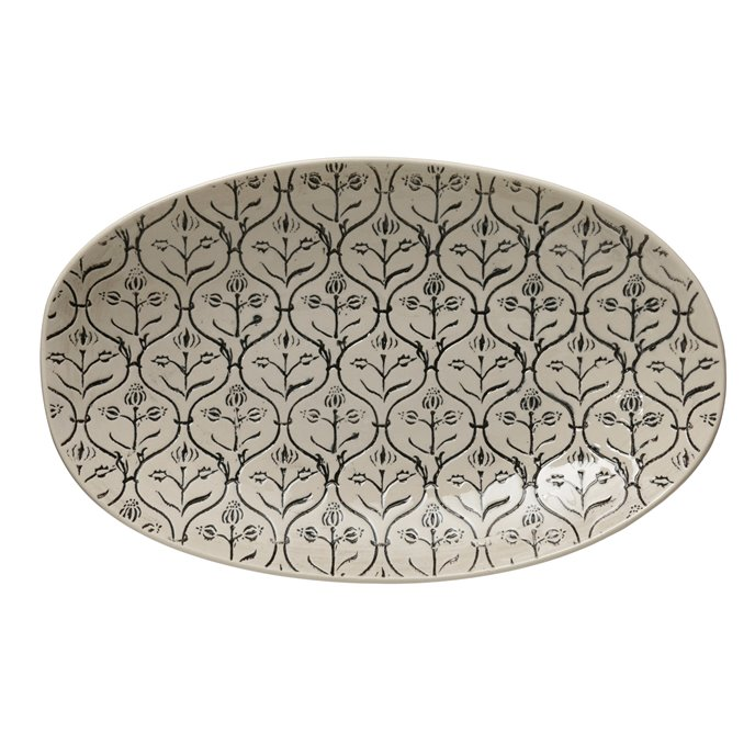 Hand-Stamped Stoneware Platter w/ Embossed Pattern, Black & Cream Color Thumbnail
