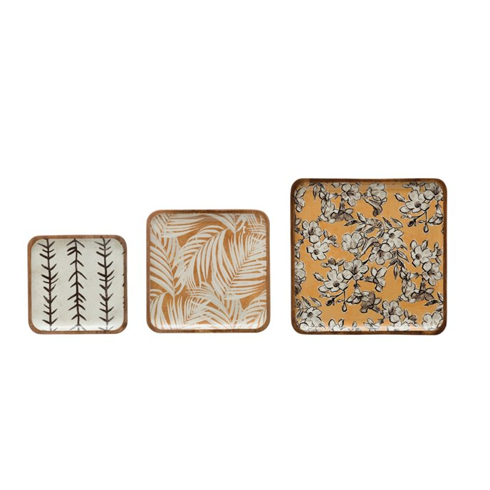 Square Enameled Acacia Wood Trays with Print, Set of 3 © Thumbnail