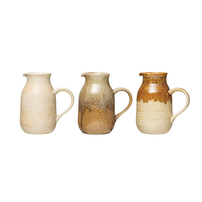 36 oz. Stoneware Pitcher with Reactive Glaze Finish (Set of 3 Colors/Each one will vary) Thumbnail