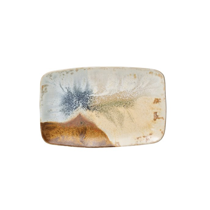 """13.25"""" Rectangle Stoneware Platter with Reactive Glaze Finish (Each one will vary) Thumbnail"""