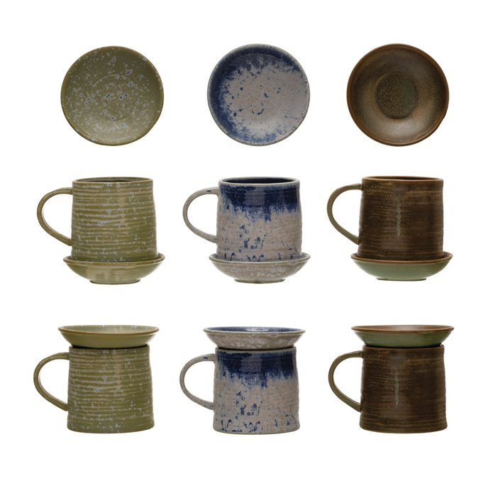 """12 oz. Stoneware Mug w/ 4-1/4"""" Round Snack Plate Topper, Reactive Glaze, Set of 2, 3 Colors (Each One Will Vary) Thumbnail"""