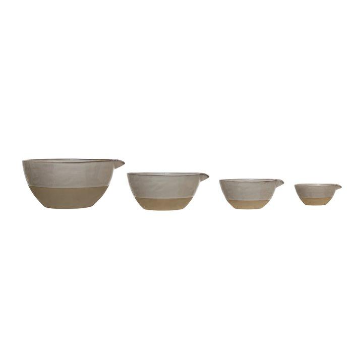 Stoneware White Batter Bowls (Set of 4) Thumbnail