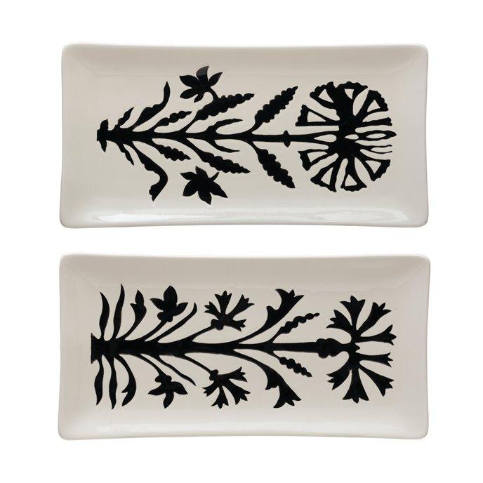 Stoneware Platter w/ Flower, White & Black, 2 Styles © Thumbnail