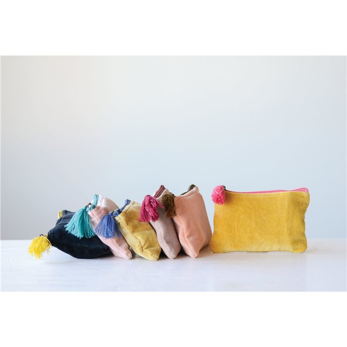 Small Velvet Zip Pouch with Tassel (Set of 6 Colors) Thumbnail