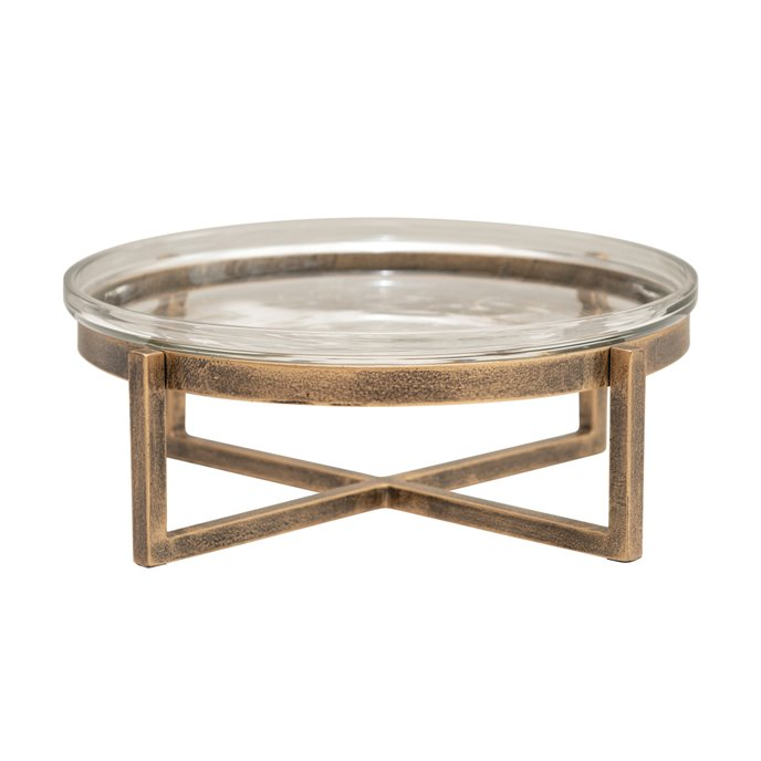 Glass Serving Tray with Metal Stand (Set of 2) Thumbnail