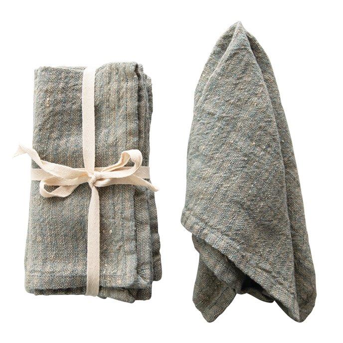 Blue Square Woven Striped Linen Napkin (Set of 4) Thumbnail