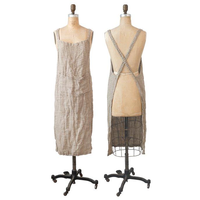Brown Woven Linen Striped Apron Thumbnail