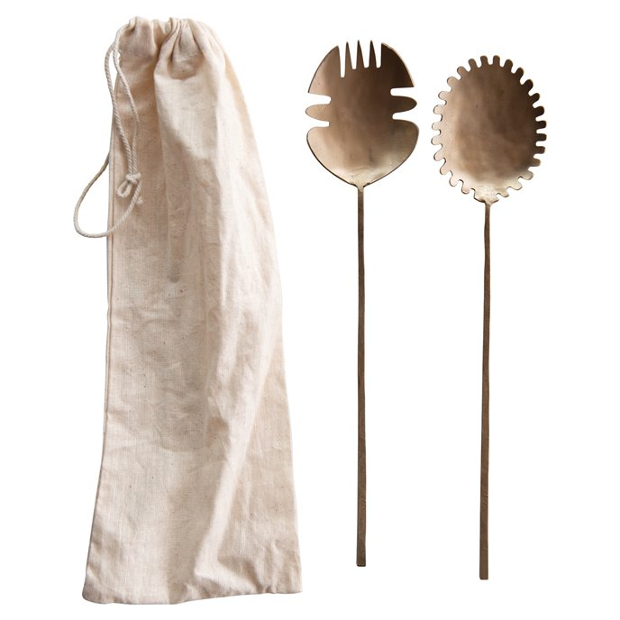 Brass Hand-Forged Salad Servers (Set of 2) Thumbnail