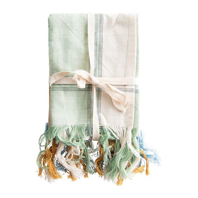 Cotton Tea Towels with Fringe (Set of 3) Thumbnail