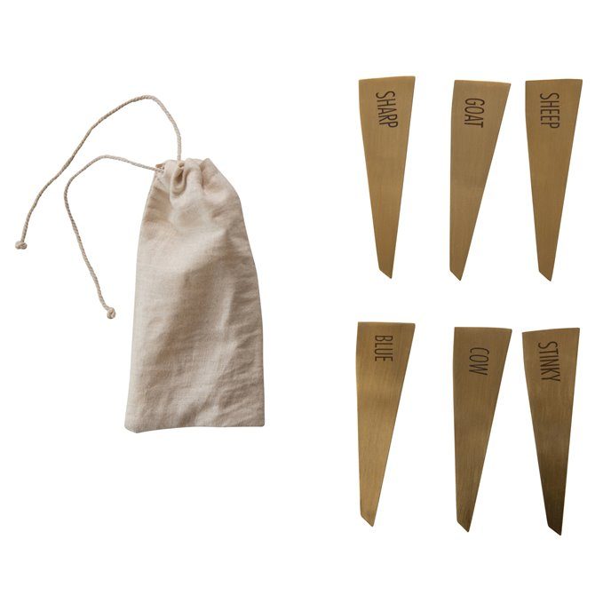 Brass Stainless Steel Cheese Markers (Set of 6) Thumbnail