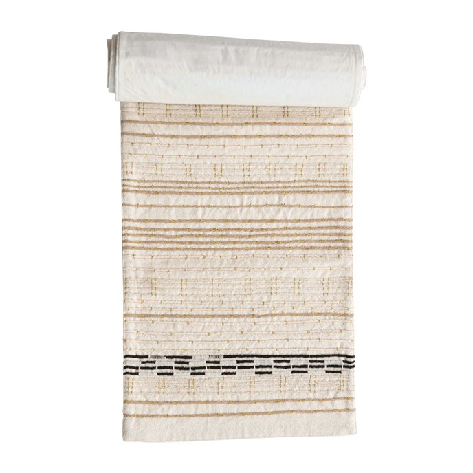 Cotton Embroidered Table Runner with Gold Metallic Stitching, Multi Color Thumbnail