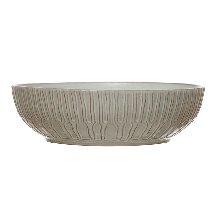 Debossed Stoneware Bowl, White Thumbnail