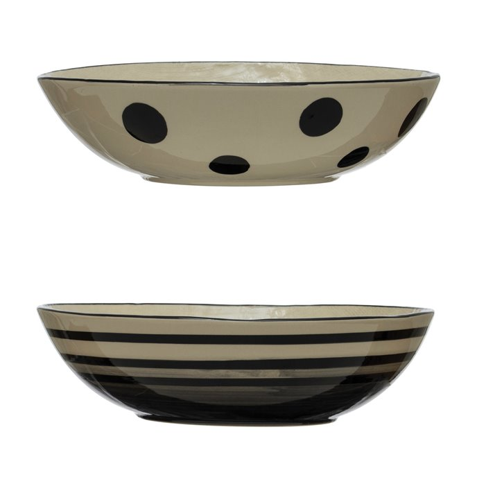 Hand-Painted Stoneware Serving Bowl, Black & White, 2 Styles Thumbnail