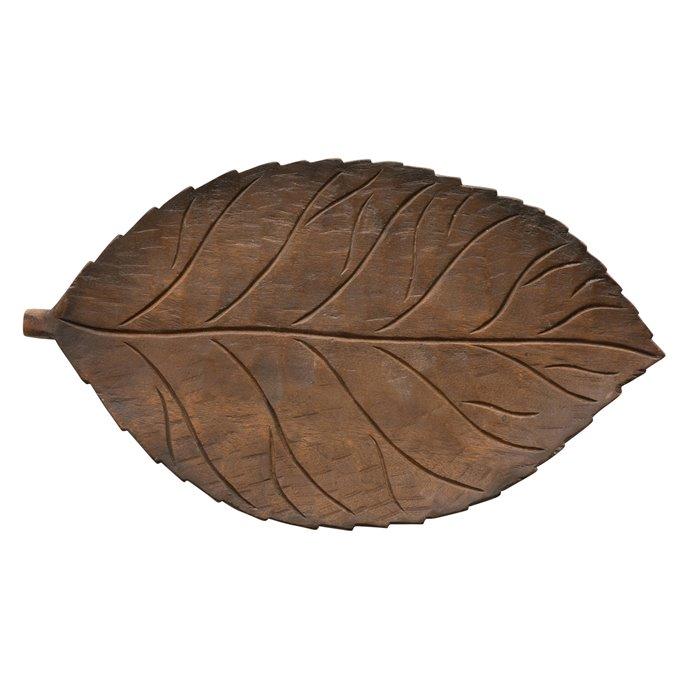 Hand-Carved Mango Wood Leaf Tray Thumbnail