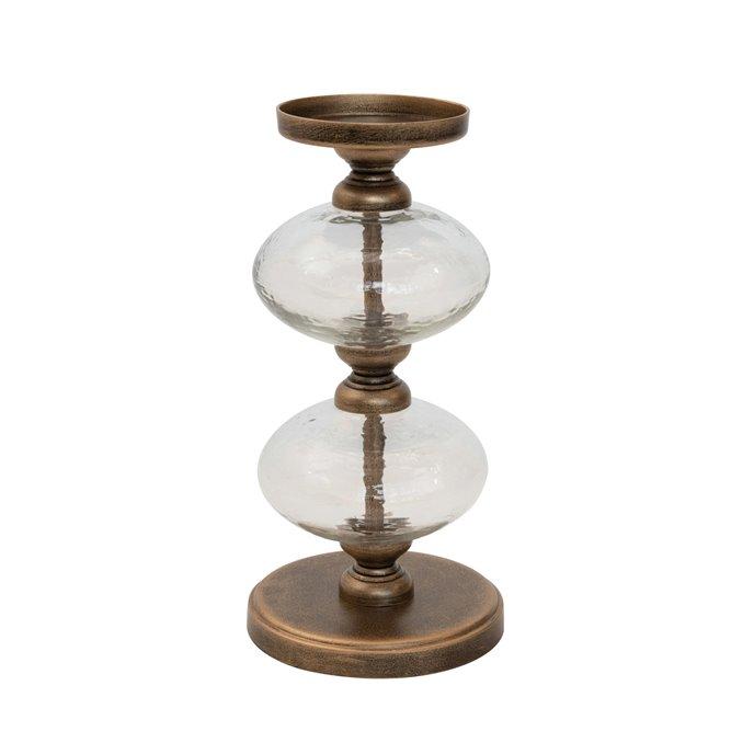 "Metal & Glass Pillar Holder, Antique Gold Finish (Holds 3"" Pillar) Thumbnail"