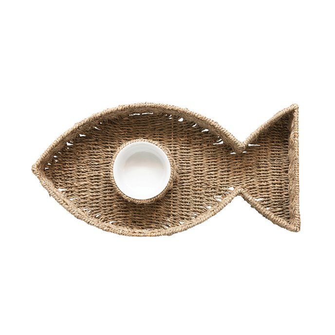 Hand-Woven Seagrass Fish Shaped Chip & Dip with 8oz. Ceramic Bowl, Set of 2 Thumbnail