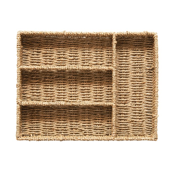 Hand-Woven Seagrass Tray with 4 Sections, Natural Thumbnail