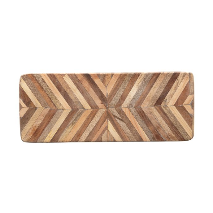 Mango Wood Cheese/Cutting Board with Chevron Pattern Thumbnail