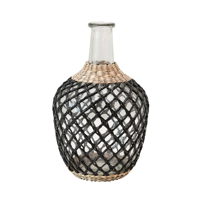 Glass Decanter with Seagrass Weave, Natural & Black Thumbnail