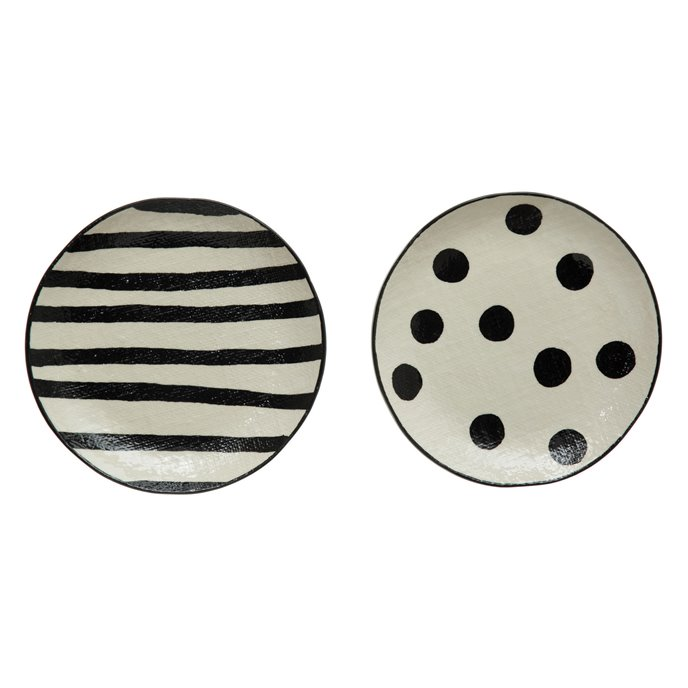 """8"""" Round Hand-Painted Stoneware Plate w/ Linen Texture, Black & White, 2 Styles Thumbnail"""