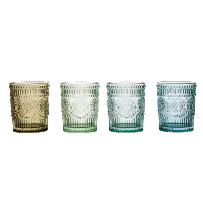 12 oz. Embossed Drinking Glass, 4 Colors Thumbnail