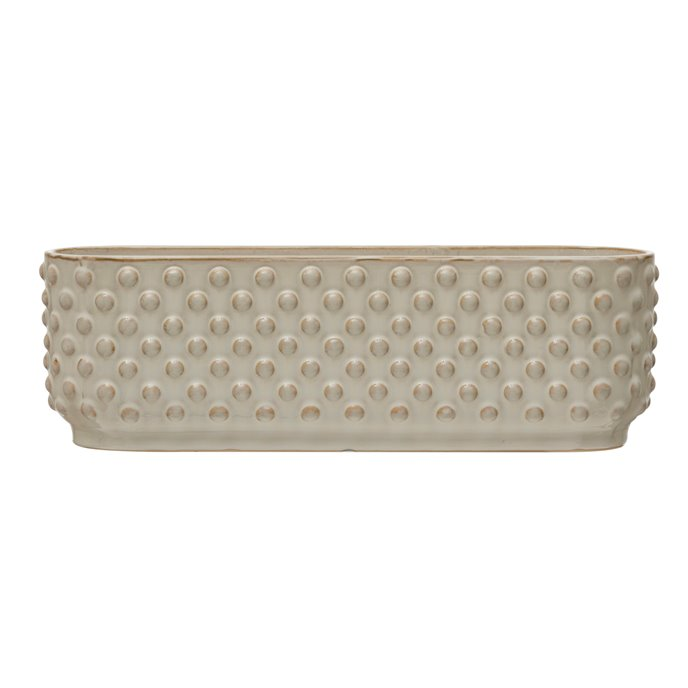 Stoneware Hobnail Window Planter with 3 Sections, Reactive Glaze, White (Each One Will Vary) Thumbnail