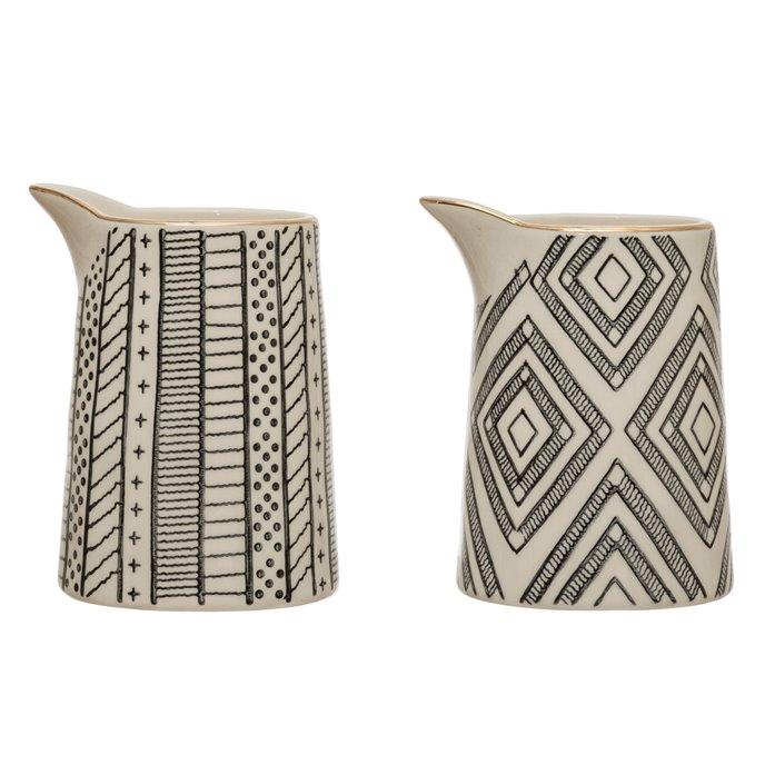 8 oz. Stoneware Creamer w/ Pattern & Gold Electroplating, Black & White, 2 Styles Thumbnail