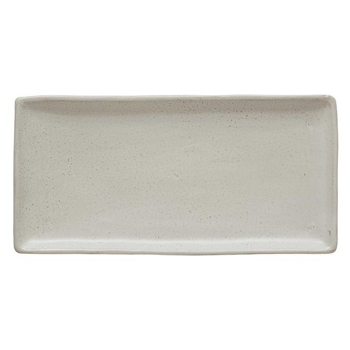 Stoneware Platter, Matte White Finish Thumbnail