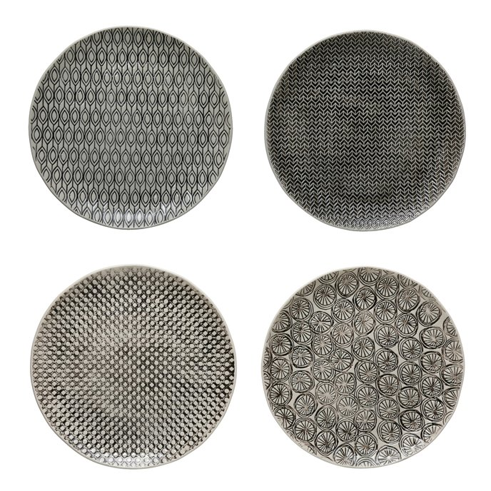 """10"""" Round Hand-Stamped Stoneware Plate w/ Embossed Pattern, Black & Cream Color, 4 Styles Thumbnail"""