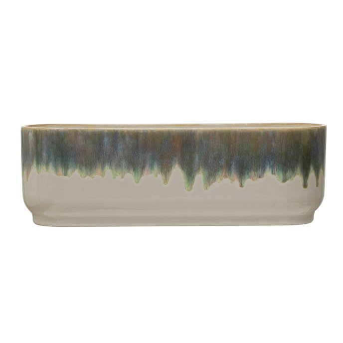 Stoneware Window Planter with 3 Sections, Reactive Glaze, Blue & White (Each One Will Vary) Thumbnail