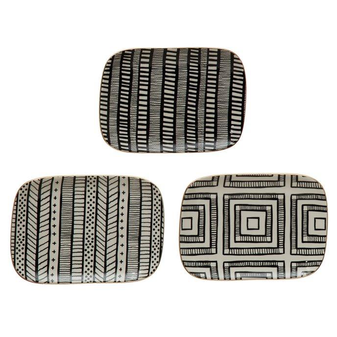 Stoneware Plate w/ Pattern & Gold Electroplating, 3 Styles Thumbnail