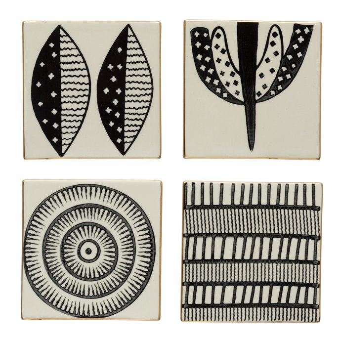 "4"" Square Stoneware Coasters w/ Pattern & Gold Electroplating, Black & White, Set of 4, 4 Styles Thumbnail"