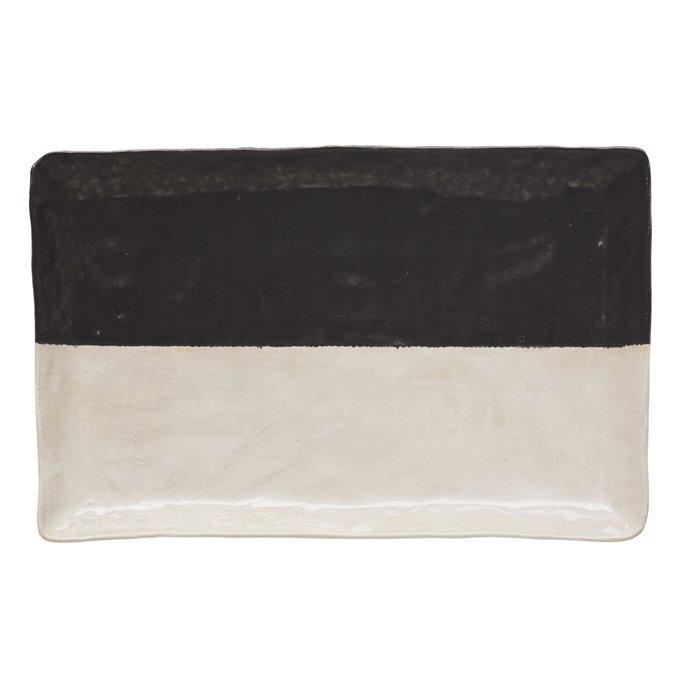Stoneware Platter, Black & White (Each One Will Vary) Thumbnail
