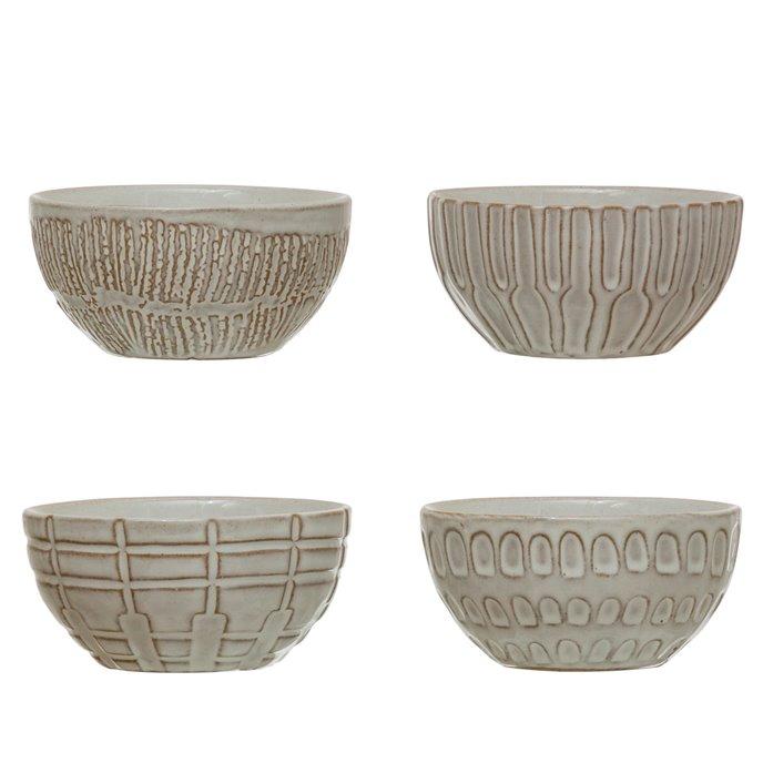 Debossed Stoneware Bowl, White, 4 Styles Thumbnail