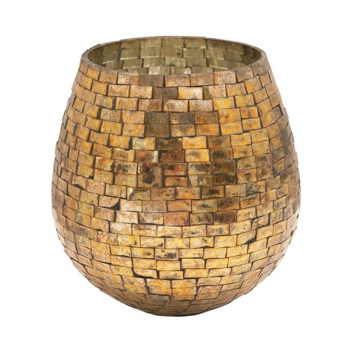 Glass Mosaic Votive Holder, Antique Gold Finish Thumbnail