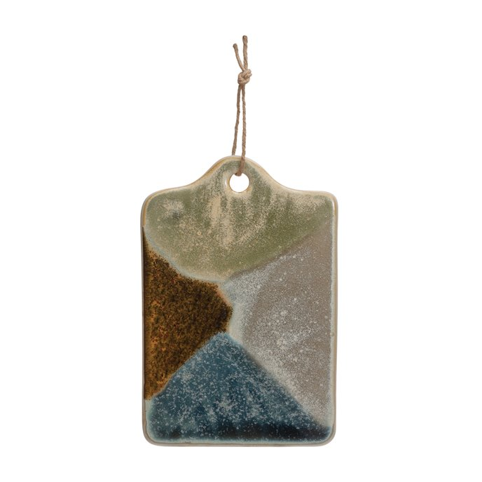 Stoneware Cheese/Cutting Board with Jute Tie, Reactive Glaze, Multi Color (Each One Will Vary) Thumbnail