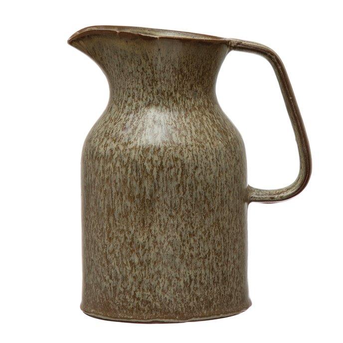 36 oz. Stoneware Pitcher, Reactive Glaze, Brown (Each One Will Vary) Thumbnail