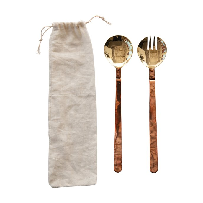 Brass Salad Servers with Copper Handles in Drawstring Bag, Set of 2 Thumbnail