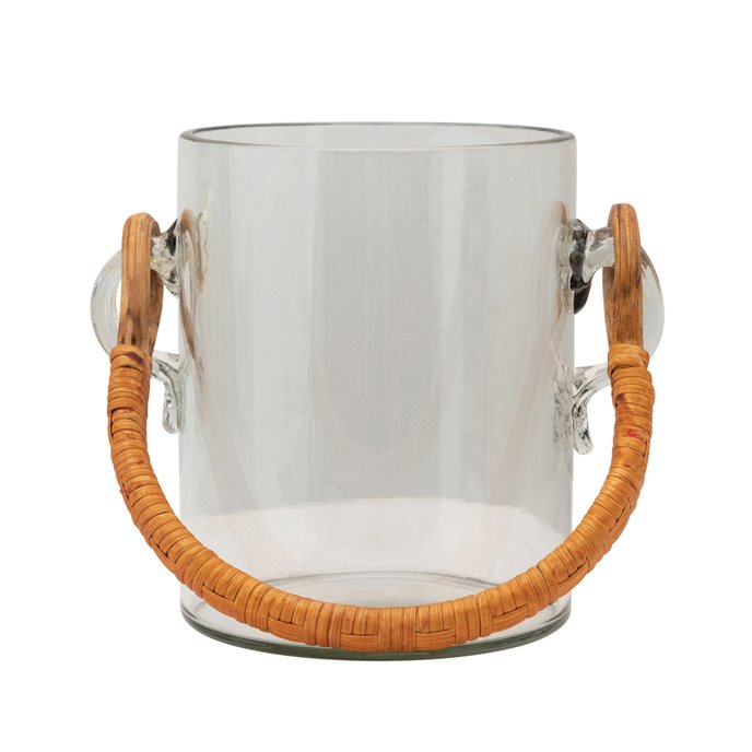 2 Quart Glass Ice Bucket with Bamboo Wrapped Handle Thumbnail