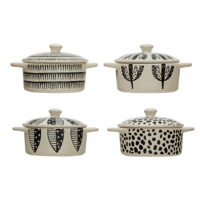 Stoneware Mini Baker w/ Lid & Pattern, Black & White, 4 Styles Thumbnail