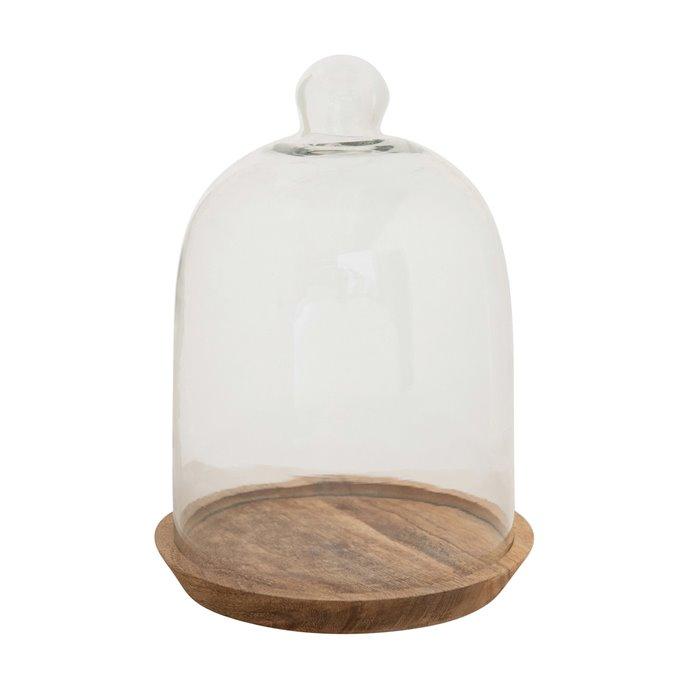 Glass Cloche with Mango Wood Base, Set of 2 Thumbnail