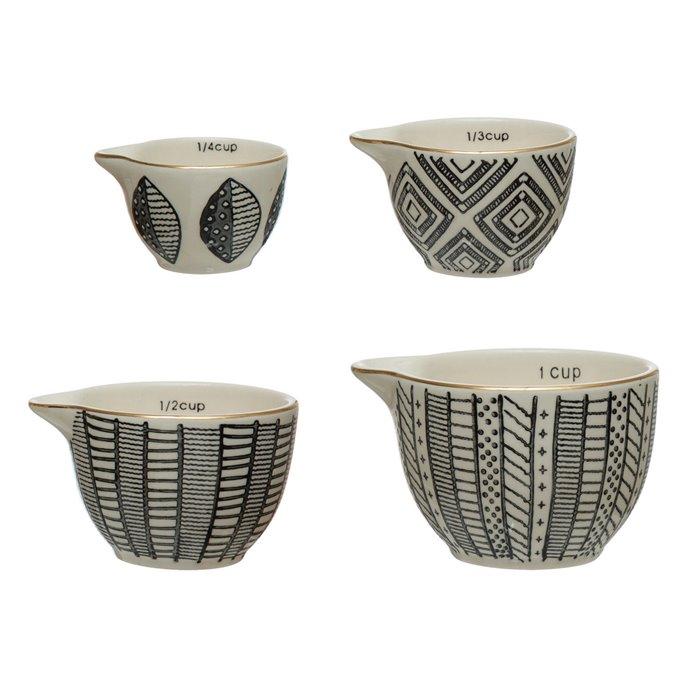 Stoneware Measuring Cups with Pattern & Gold Electroplating, Black & White, Set of 4 Thumbnail