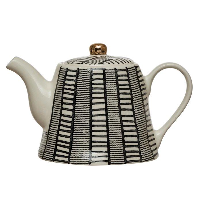 18 oz. Stoneware Teapot with Pattern & Gold Electroplating, Black & White Thumbnail